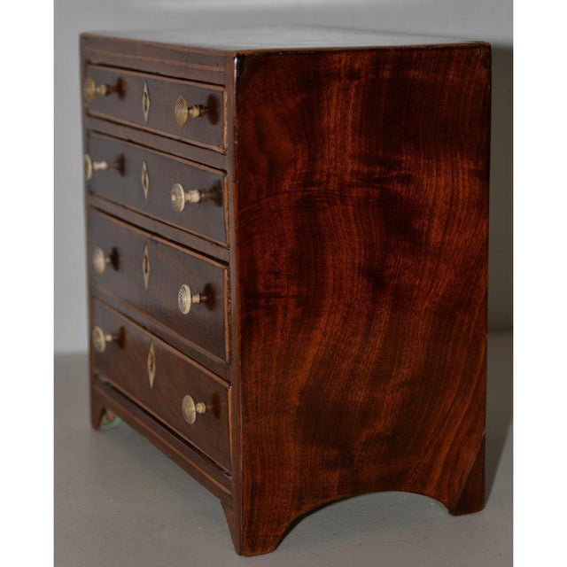 American Rare 19th Century Miniature Mahogany Salesman Sample Chest of Drawers W/ Inlay For Sale - Image 3 of 11