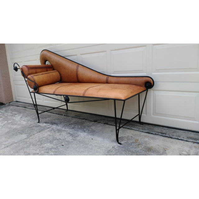 Whimsical Wrought Iron & Leather Daybed - Image 4 of 5