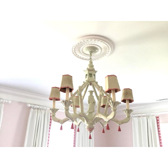 White Chic Chinoiserie 6-Arm Chandelier For Sale - Image 8 of 11