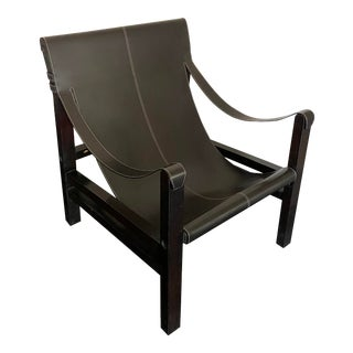 Vintage Leather Safari Sling Chair For Sale