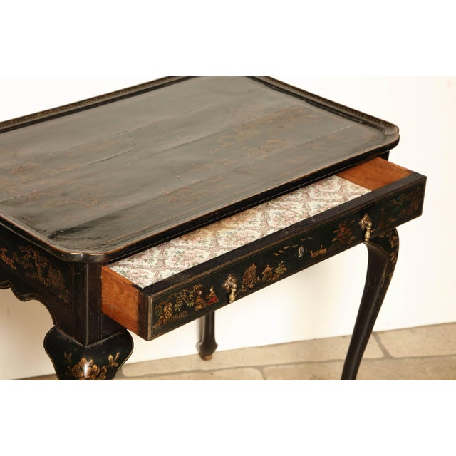 Brown Queen Anne Lacquered Tea Table For Sale - Image 8 of 11