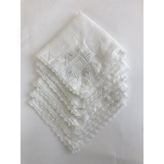 1930s English Traditional Hand Embroidered Linen Napkins - Set of 6 For Sale - Image 11 of 11