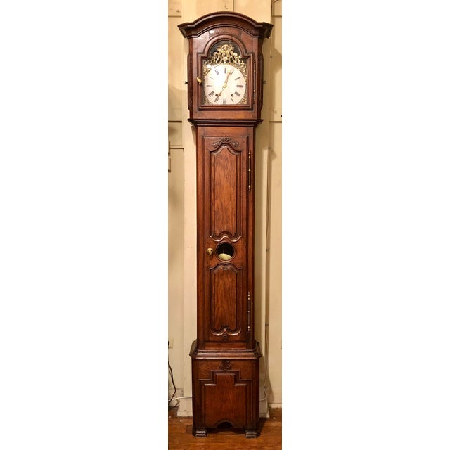 "French Provincial Antique French Provincial Oak ""Morbier"" Grandfather Clock For Sale - Image 3 of 3"