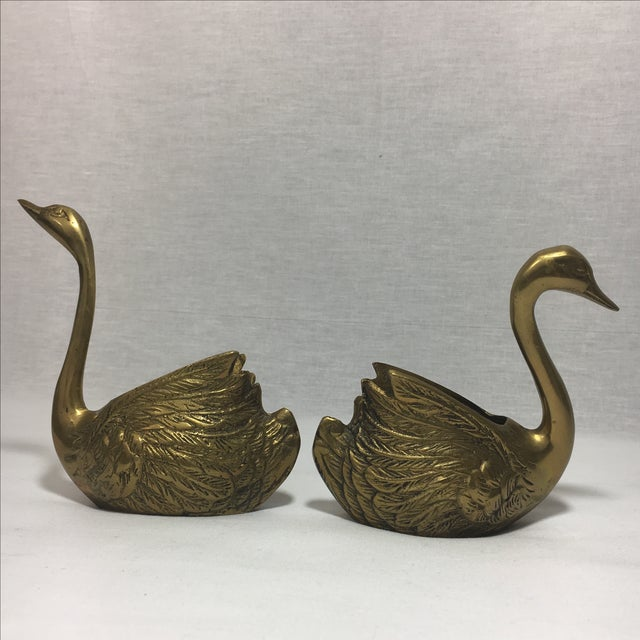 Brass Swan Containers - Pair - Image 3 of 6