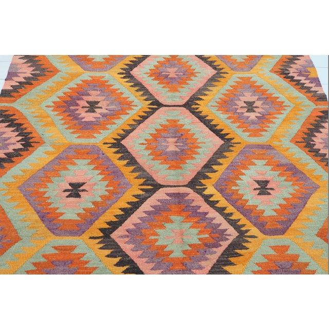 Boho Chic Vintage Turkish Barak Nomad's Flat Weave Rug For Sale - Image 3 of 12