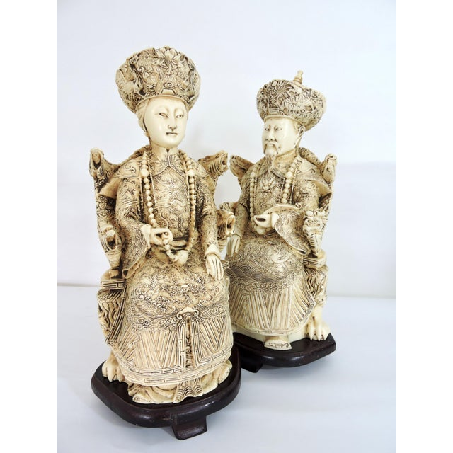 1960s Vintage Chinese Faux Ivory Emperor and Empress Statues or Figures - a Pair, With Stands For Sale - Image 5 of 11