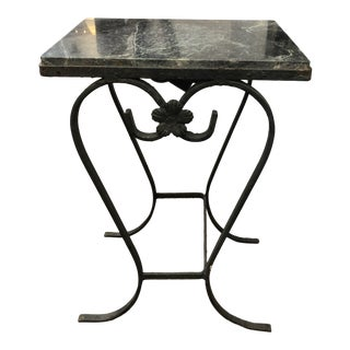 Iron Drinks Table With Black and Green Marble For Sale