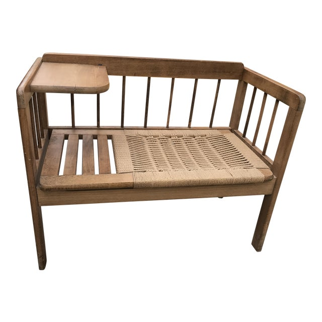 Hans Wegner Style Teak Woven Bench, 1970s For Sale