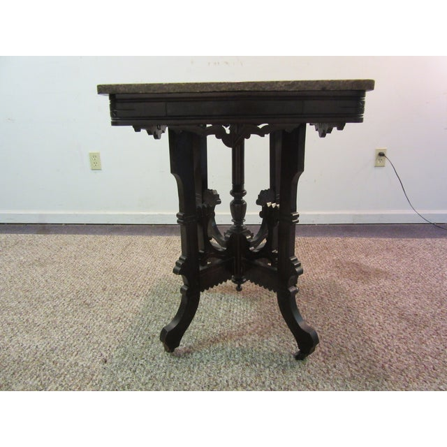 Antique Victorian Marble Top Side/Lamp Table - Image 3 of 11