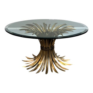 Mid 20th Century Italian Hollywood Regency Gold Iron Sheaf of Wheat Coffee Table For Sale