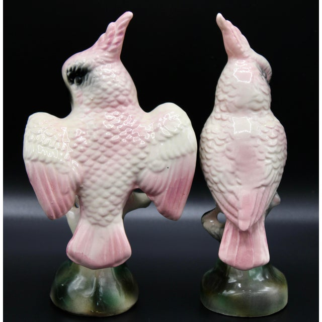Boho Chic Vintage Pink Ceramic Cockatoo Parrot Bird Figurines - a Pair For Sale - Image 3 of 8