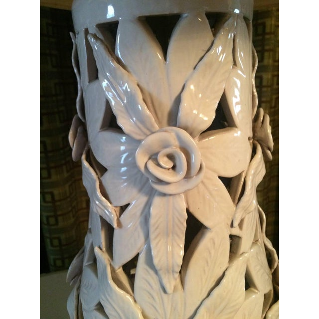 Monumental Glazed Terra Cotta Floral Lamps - A Pair For Sale - Image 4 of 4