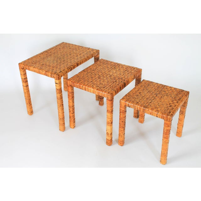 Boho Rattan Wrapped Nesting Tables S/3 For Sale In Milwaukee - Image 6 of 10