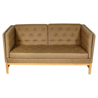 Tufted Sofa in Original Olive Wool Tweed