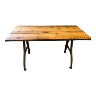 Olde Good Things Industrial Iron Legs Dining Table For Sale