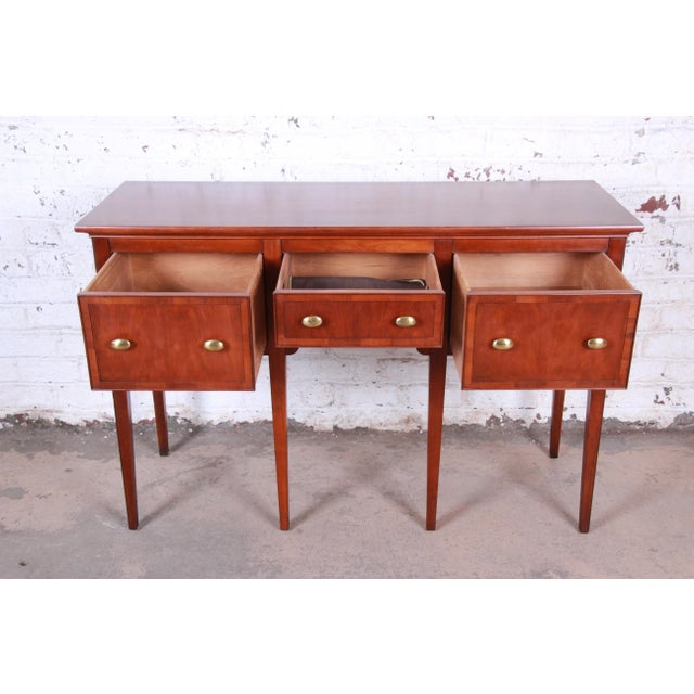 Metal Hekman Regency Style Cherry Wood Sideboard Credenza For Sale - Image 7 of 13