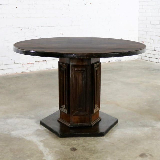 Spanish Colonial Revival Style Round Dining Table With Single Pedestal Style of Artes De Mexico Three Available For Sale - Image 13 of 13