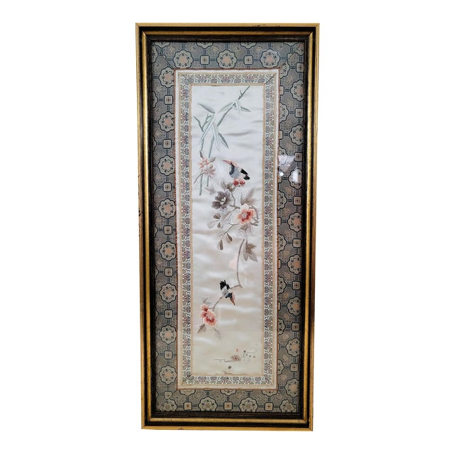 Mid Century Framed Chinoiserie Embroidery For Sale