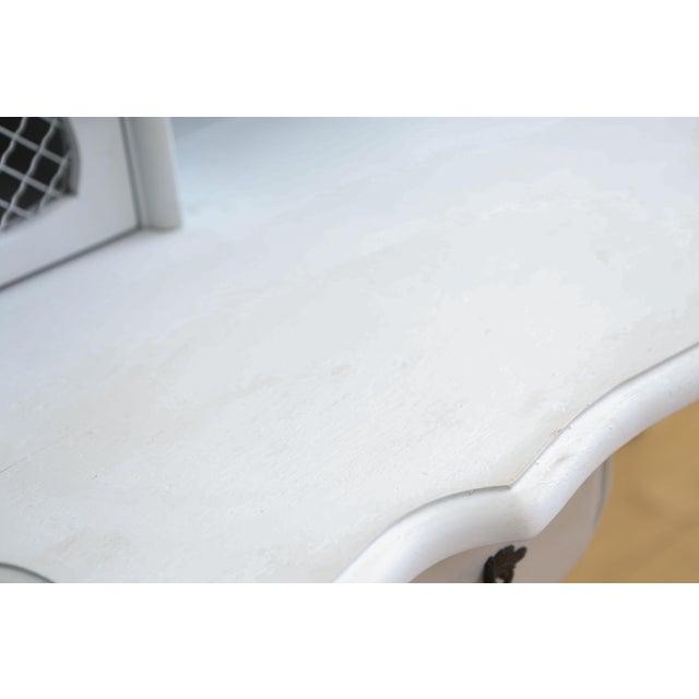 Gray Vintage Distressed Writing Vanity Desk For Sale - Image 8 of 9