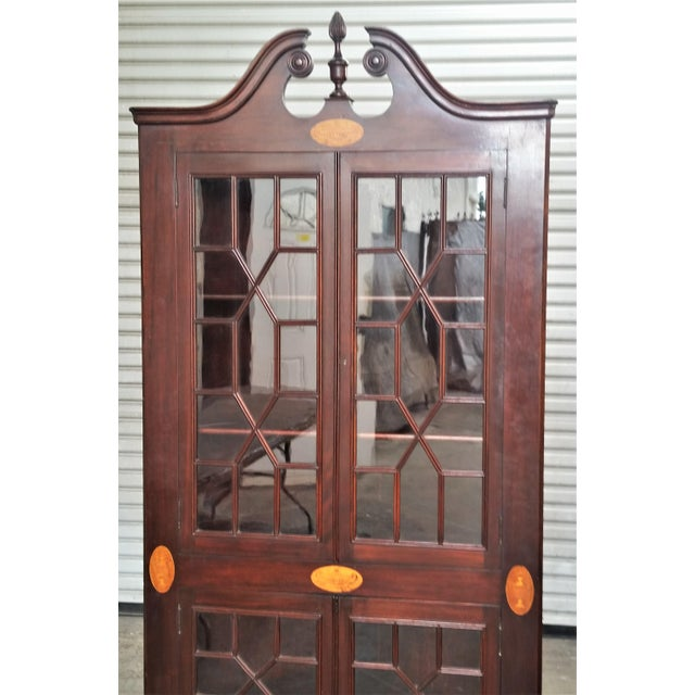 Wood Antique Mahogany Corner China Cabinet For Sale - Image 7 of 13