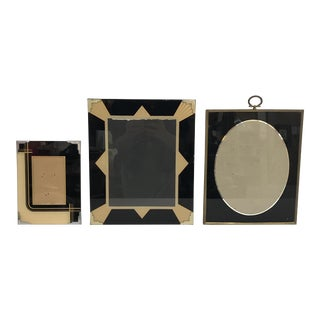 1920s Art Deco Black Glass and Brass Picture Frames - Set of 3