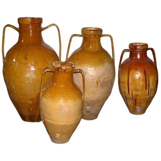 Southern Italian Terra Cotta Olive Oil Jars For Sale