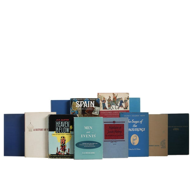 History Of The World in Tan & Blue, S/20. Twenty vintage books featuring a collection of world history themed selections -...
