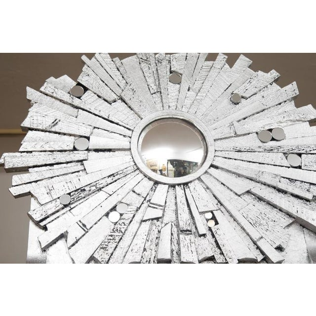 Pair of Contemporary Silvered Sunburst Mirror For Sale In West Palm - Image 6 of 8