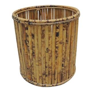 Vintage Tortoise Bamboo Round Wastebasket For Sale