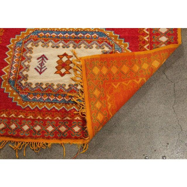 Vintage Moroccan Orange Tribal Rug For Sale - Image 9 of 10