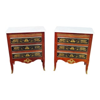 Pair of Empire Style Marble Top Commodes For Sale