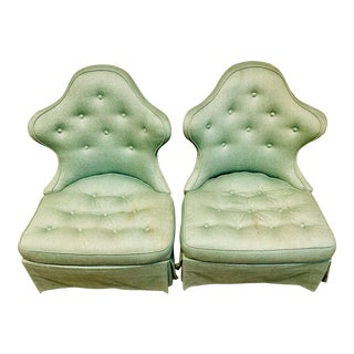Mid Century Style Slipper Chairs- a Pair For Sale