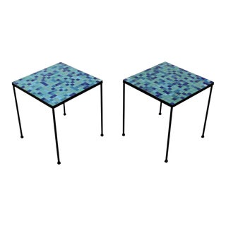 Mid-Century Modern Pair of Murano Glass Tile and Iron Side or End Tables, Italy For Sale
