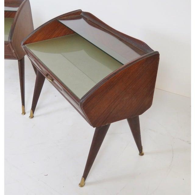 Modern Italian Teak Glass Top Stands - A Pair - Image 2 of 2
