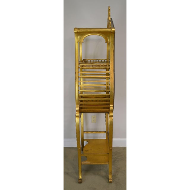 Louis XV Victorian Era French Louis XV Style Gilt Mirror Back Etagere For Sale - Image 3 of 13