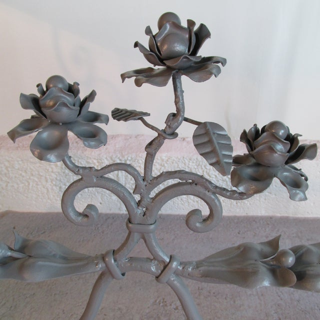 Metal Antique French Garden Console Table With Marble Top For Sale - Image 7 of 13