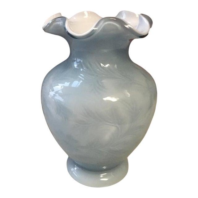 Fenton Art Glass Embossed Case Glass Vase For Sale