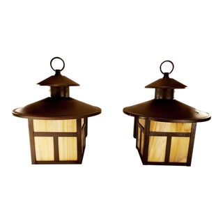Vintage Slag Glass & Metal Wall Sconce Lanterns - a Pair