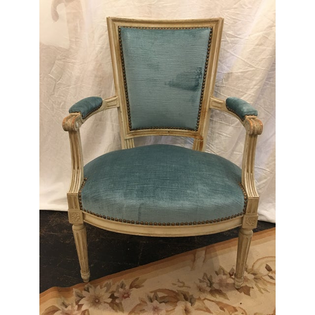 Louis XVI Styled Painted Armchairs in Blue Velvet - a Pair For Sale - Image 4 of 10