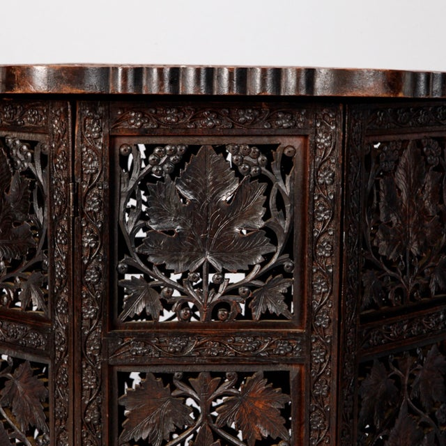 Octagonal Delicately Carved Dark Wood Moorish Table - Image 5 of 9