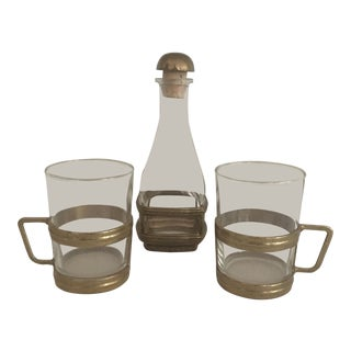 Vintage Brass and Glass Bottle and Cups - Set of 3 For Sale