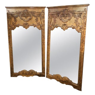 Pair of Monumental Custom Carved Wall Console or Standing Floor Mirrors For Sale