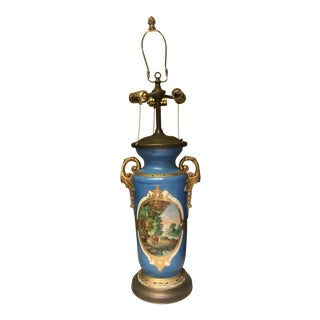 Large Paris Porcelain Hand Painted 3-Light Table Lamp For Sale