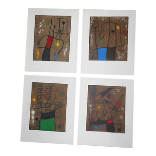Vintage Mid 20th C. Modern Ltd. Ed. Lithographs-Joan Miro-Signed-Set of 4-Elephant Folio For Sale