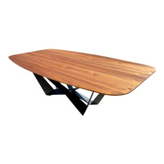 Spectacular Walnut Dining Table With Stainless Steel Powder Coated Base For Sale