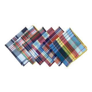 Vintage Plaid Cocktail Napkins - Set of 6 For Sale