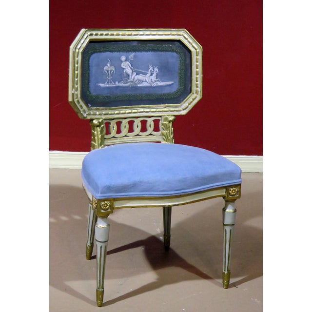 Blue Early 20th Century Antique Distressed Painted Louis XV Style Side Chair For Sale - Image 8 of 8