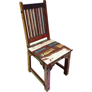 Brix Multicolored Distressed Dining Chair For Sale