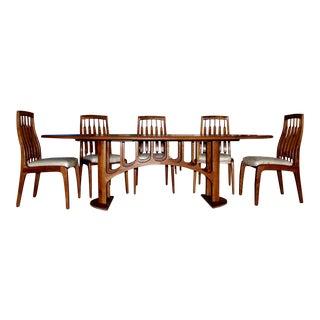 1994 Randy Bader Handmade Craftsman Dining Suite For Sale
