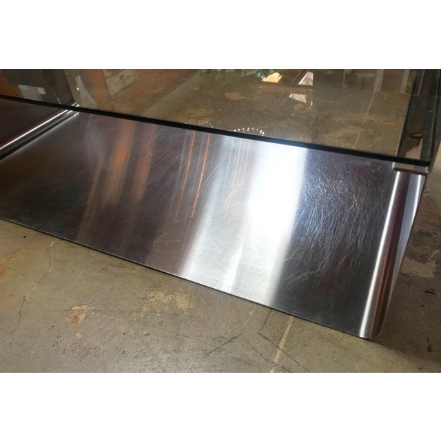 Silver Sculptural Coffee Table Made of Three Modular Glass and Chrome Pieces, 1970s For Sale - Image 8 of 12